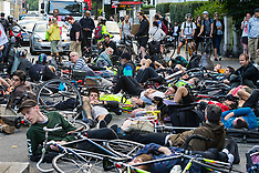 2017-09-04 Dozens of cyclists hold die-in on Camden Road following rider's death.