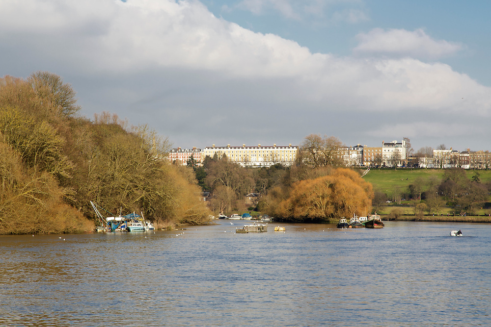 The view towards Richmond Hill from the River Thames in London.