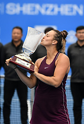 SHENZHEN, Jan. 5, 2019  Aryna Sabalenka of Belarus kisses the trophy after winning the final match against Alison Riske of the United States at the WTA Shenzhen Open tennis tournament in Shenzhen, south China's Guangdong Province, Jan. 5, 2019. Aryana Sabalenka won 2-1 and claimed the title. (Credit Image: © Xinhua via ZUMA Wire)