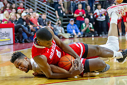 NORMAL, IL - February 16: Phil Fayne gets flattened by LuQman Lundy on a scramble for a loose ball during a college basketball game between the ISU Redbirds and the Bradley Braves on February 16 2019 at Redbird Arena in Normal, IL. (Photo by Alan Look)