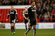 Watford forward Troy Deeney  apologises  during the The FA Cup fourth round match between Nottingham Forest and Watford at the City Ground, Nottingham, England on 30 January 2016. Photo by Simon Davies.