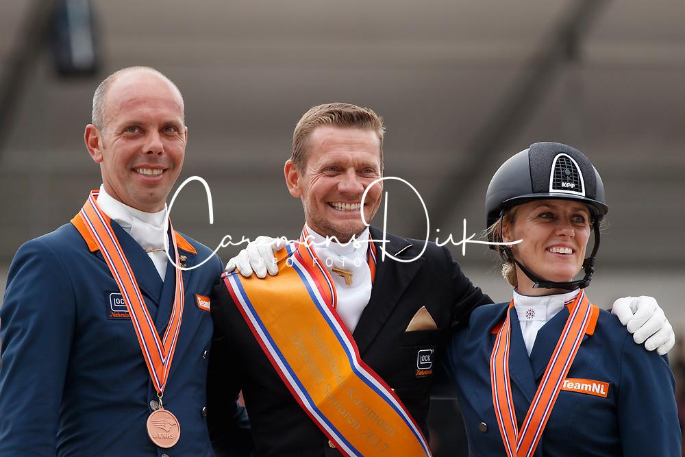 Podium Kür Grand Prix, Gal Adward, Witte-Vrees Madeleine, Minderhoud Hans Peter, NED<br /> Nederlands Kampioenschap Dressuur <br /> Ermelo 2017<br /> © Hippo Foto - Dirk Caremans<br /> 16/07/2017