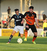 Dundee's Dylan Carreiro goes past Dundee United's Calum Butcher - Dundee v Dundee United, SPFL Development League at Gayfield, Arbroath<br /> <br />  - &copy; David Young - www.davidyoungphoto.co.uk - email: davidyoungphoto@gmail.com