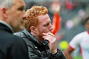 MK Dons Dean Lewington(3) looking disappointed after the EFL Sky Bet League 1 match between Milton Keynes Dons and Scunthorpe United at stadium:mk, Milton Keynes, England on 28 April 2018. Picture by Nigel Cole.