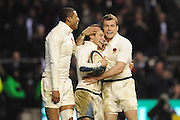 Mark Cueto (R-England) congratulates Danny Care (England) on his try during the RBS 6 Nations Championship match between England and Wales at Twickenham Stadium on February 6, 2010 in London, England.