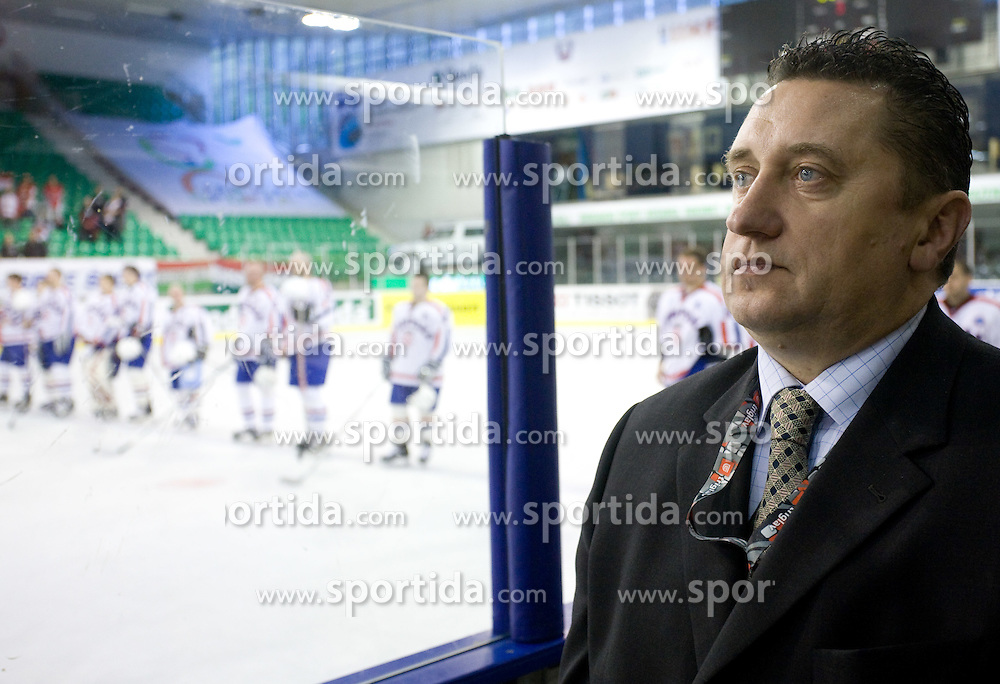 Croatian team leader Dragutin Ljubic at IIHF Ice-hockey World Championships Division I Group B match between National teams of Hungary and Croatia, on April 20, 2010, in Tivoli hall, Ljubljana, Slovenia.  (Photo by Vid Ponikvar / Sportida)