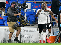 Football - 2019 / 2020 Championship - Play-off semi-final - 1st leg - Cardiff City vs Fulham<br /> <br /> Neeskens Kebano of Fulham celebrates scoring his team's second goal<br /> in a match played with no crowd due to Covid 19 coronavirus emergency regulations, in an almost empty ground, at the Cardiff City Stadium<br /> <br /> COLORSPORT/WINSTON BYNORTH