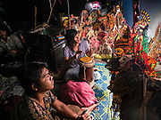 """15 JUNE 2105 - NARATHIWAT, NARATHIWAT, THAILAND:  Drummers perform at a """"wayang"""" (a traditional shadow puppet show) at a fair in Narathiwat to celebrate 100 years of Narathiwat. The city has been a Muslim city for centuries, but when Siam (now Thailand) annexed the three southern provinces they changed the name to Narathiwat.     PHOTO BY JACK KURTZ"""