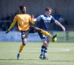 Annan Athletic's Smart Osadolor and Forfar Athletic's Eddie Malone. half time : Forfar Athletic 1 v 3 Annan Athletic, Scottish Football League Division Two game played 6/5/2017 at Station Park.