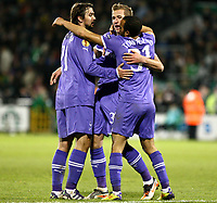 Football - Europa League - Shamrock Rovers vs. Tottenham Hotspur at Tallaght Stadium, Dublin<br /> <br /> Harry Kane is congratulated by team mates after scoring the fourth goal for Tottenham Hotspur.