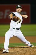 Oakland Athletics relief pitcher Daniel Coulombe (35) pitches against the Miami Marlins at Oakland Coliseum in Oakland, Calif., on May 23, 2017. (Stan Olszewski/Special to S.F. Examiner)