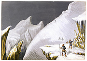Mountaineering in the mid-nineteenth century. The Mur de la Cote: one of set of four Baxter prints of 'The Ascent of Mont Blanc' published c1855.  Mont Blanc is an Alpine peak lying on the French-Italian border.