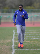 Justin Gatlin runs during a workout in Kissimmee, Fla., Friday, Jan. 26, 2018.