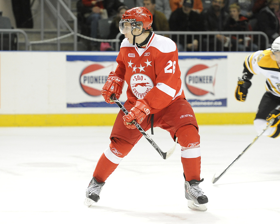 Egor Omelyanenko of the Sault Ste. Marie Greyhounds. Photo by Aaron Bell/OHL Images