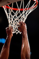 04 March 2011: Center Andrew Bynum of the Los Angeles Lakers grabs the net during a timeout against the Charlotte Bobcats during the second half of the Lakers 92-84 victory over the Bobcats at the STAPLES Center in Los Angeles, CA.