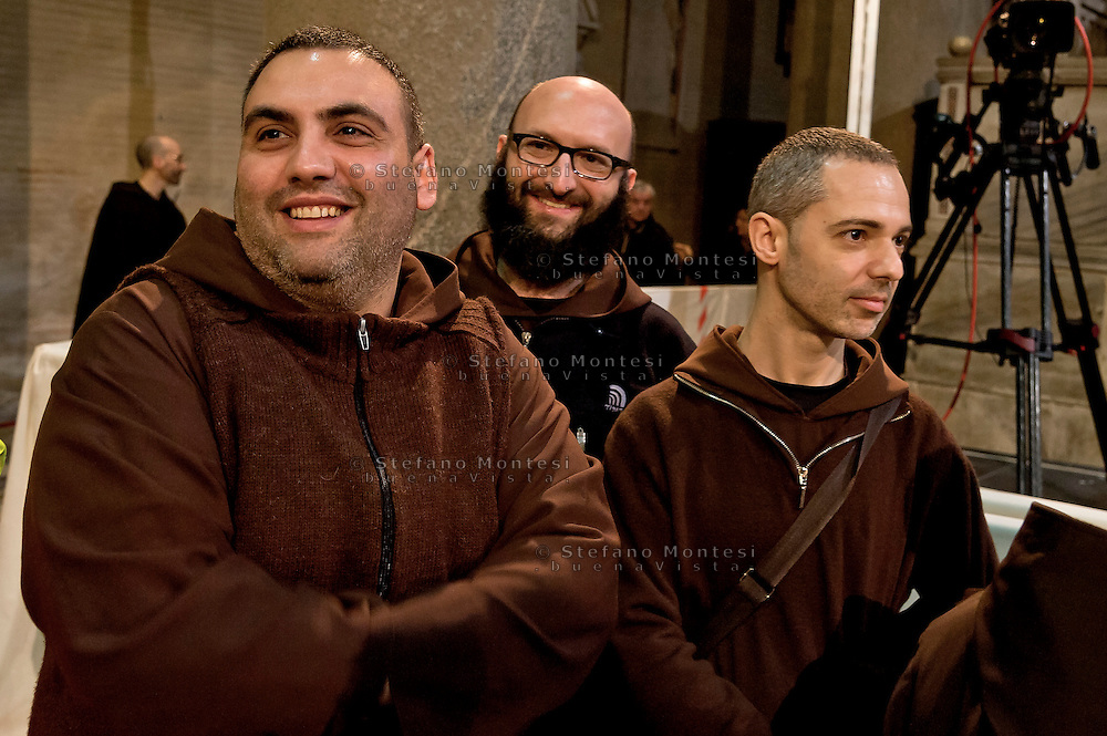 Rome, Italy. 3th Febraury 2016<br />  Friars awaiting the arrival of the relics of St. Pio of Pietrelcina and the relic of St. Leopold Mandic in the Basilica of San Lorenzo Fuori le mura. The St. Pio of Pietrelcina were called to Rome by Pope Francis as symbol of the Mercy Jubilee.