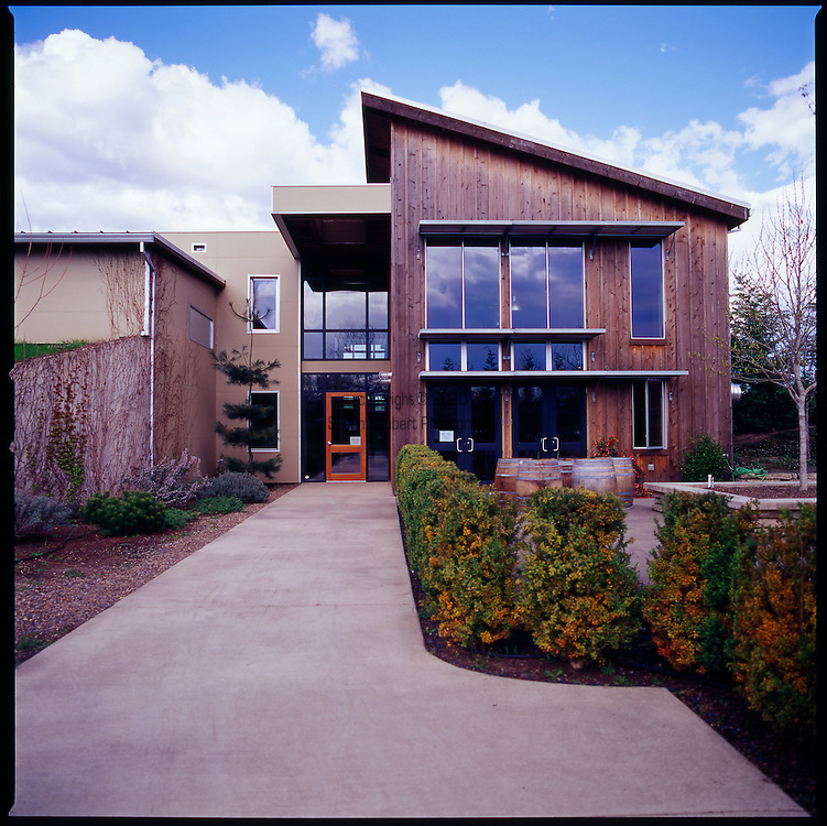 The Carlton Winemakers Studio, Carlton, OR is the first winery registered with the US Green Building Council and was designed to be compliant with LEED certification..http://www.winemakersstudio.com/thestudio/index.jsp