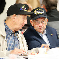 Thomas Wells | BUY AT PHOTOS.DJOURNAL.COM<br /> Ernie Booth, left, and Jerry Moore chat duirng their Veterans breakfast at the Tupelo Automobile Muesum on Wednesday.