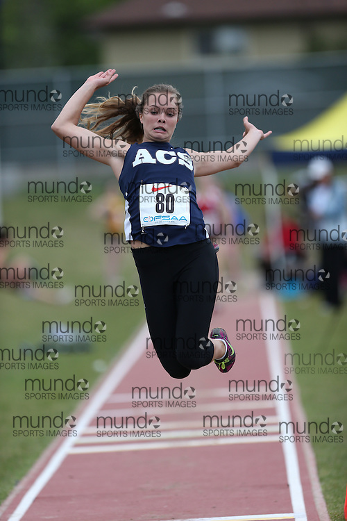 Jenna McCurdy of Assumption College - Brantford competes in the junior girls long jump at the 2013 OFSAA Track and Field Championship in Oshawa Ontario, Thursday,  June 6, 2013.<br /> Mundo Sport Images / Sean Burges