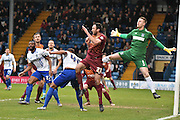 Bury Goalkeeper Ian Lawlor make himself noticed during the The FA Cup third round match between Bury and Bradford City at Gigg Lane, Bury, England on 9 January 2016. Photo by Mark Pollitt.