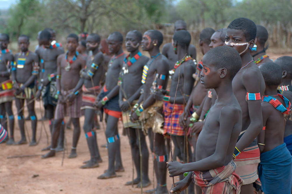 Young warriors at the jumping of the bull ceremony, Hamer tribe, Ethiopia,Africa