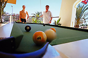 Playing pool, Ibiza, June, 2001