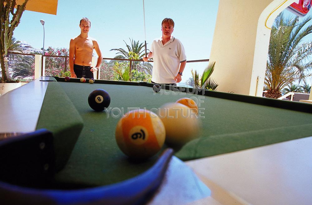 Playing pool, Ibiza, June, 2001