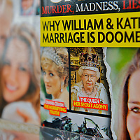 US tabloids depicting PRINCE WILLIAM and KATE MIDDLETON line the grocery store periodical racks in rural Pennsylvania leading up to the royal wedding on April 29, 2011 in Westminster Abbey, London, United Kingdom.