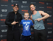 Neil Patrick Harris, right, and David Burtka celebrate the 10th year of Cycle for Survival rides with 14-year-old rare cancer survivor Luke Weber at a 2016 Cycle for Survival event at Equinox Bryant Park in New York, Sunday, March 13, 2016. Cycle for Survival is the national movement to beat rare cancers. 100 percent of funds raised go directly to rare cancer research led by Memorial Sloan Kettering. More than $100 million has been raised since the first ride ten years ago, thanks to support from founding partner Equinox. For more information, visit www.cycleforsurvival.org. (Diane Bondareff/AP Images for Cycle for Survival)