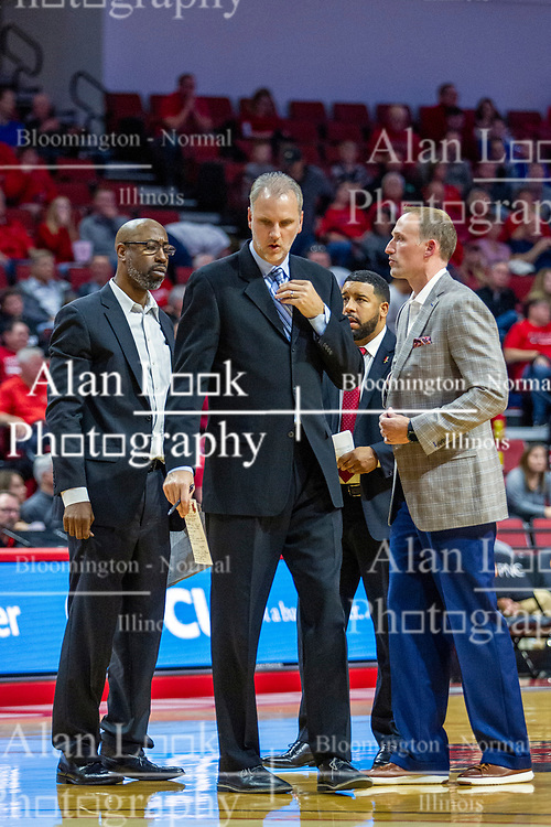 NORMAL, IL - November 10: Brian Reese, Brian Jones, Marcus Belcher and Dan Muller during a college basketball game between the ISU Redbirds and the Little Rock Trojans on November 10 2019 at Redbird Arena in Normal, IL. (Photo by Alan Look)