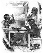 Boy chimney sweeps eating their evening meal. From Henry Mayhew 'London Labour and the London Poor' London 1861. Wood engraving