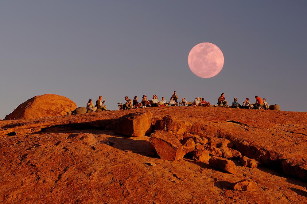 (m) Moon,Sundowner, Mowani Mountain Camp, near Twyfelfontein, Damaraland, Kunene Region, Namibia..