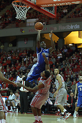 02 January 2013:  Zeke Upshaw collects an offensive could from Jahenns Manigat on a sailing shot during an NCAA Missouri Vally Conference (MVC) mens basketball game between the Creighton University Bluejays and the Illinois State Redbirds in Redbird Arena, Normal IL
