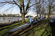 Chiswick. London.  Crews preparing their  boats, beside Tideway Scullers boathouse, for the 2011 Women's Head of the River Race, Mortlake to Putney, over the  Championship Course.Taken from Chiswick Bridge.  Saturday  19/03/2011 [Mandatory Credit, Peter Spurrier/Intersport-images]
