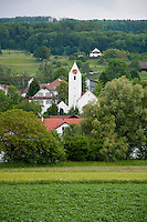 The village and scenery of Eggenwil as seen from the River Reuss.