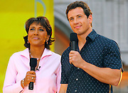 "GMA co-hosts Robin Roberts and Andrew Cuomo on stage at the 2007 ""Good Morning America"" Summer Concert Series in Bryant Park on Friday, June 8, 2007 in New York."