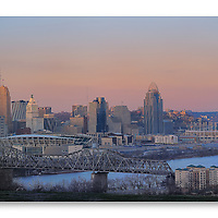 Cincinnati at twilight photographed from Devou Park in Covington Kentucky.