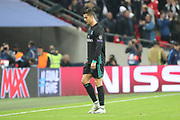 Real Madrid attaker Cristiano Ronaldo (7) leaving pitch after loss during the Champions League match between Tottenham Hotspur and Real Madrid at Wembley Stadium, London, England on 1 November 2017. Photo by Matthew Redman.