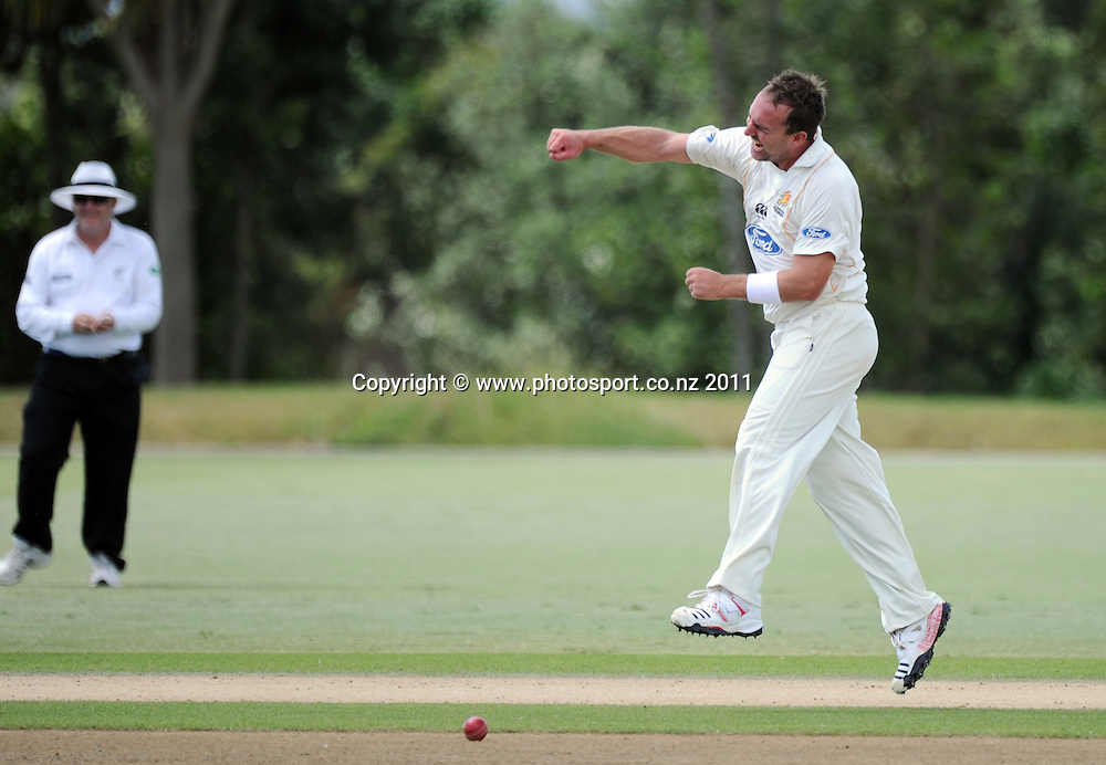Wellington's Mark Gillespie celebrates during a man of the match performance during the Ford Trophy Cricket match between Auckland and Wellinton at Colin Maiden Oval in Auckland, New Zealand on Monday 27 February 2012. Photo: Andrew Cornaga/Photosport.co.nz