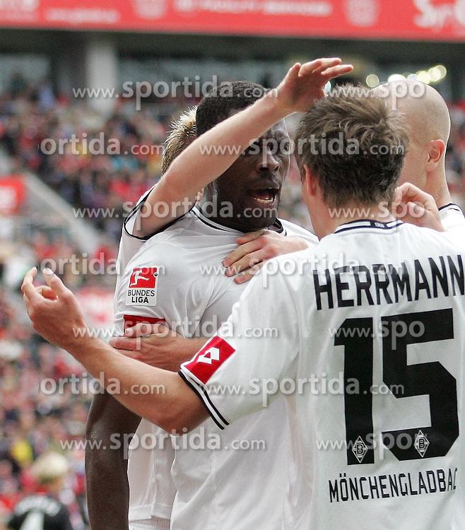 29.08.2010,  BayArena, Leverkusen, GER, 1. FBL, Bayer Leverkusen vs Borussia Moenchengladbach, 2. Spieltag, im Bild:  Jubel nach dem 0:1 durch Patrick Herrmann (Moenchengladbach #15)   EXPA Pictures © 2010, PhotoCredit: EXPA/ nph/  Mueller+++++ ATTENTION - OUT OF GER +++++ / SPORTIDA PHOTO AGENCY