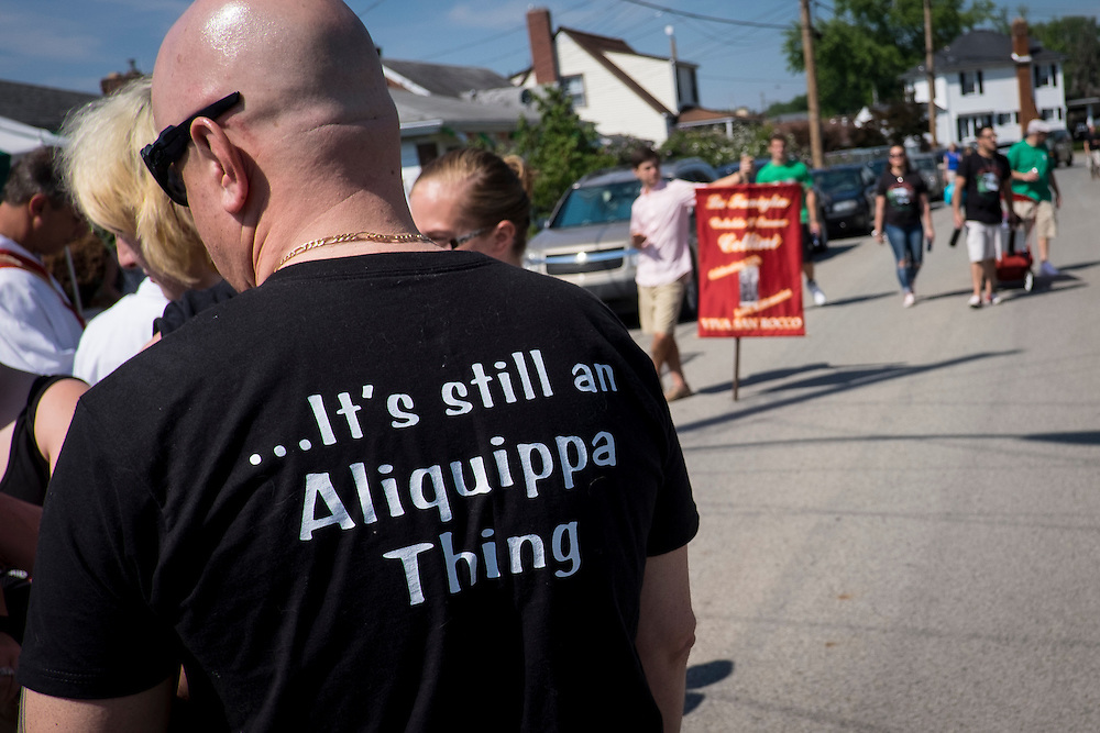 Aliquippa residents gather for the start of the 90th annual San Rocco Festa procession. The festival, a three-day religious celebration, is held annually in August honoring St. Rocco, a patron saint of the city of Potenza, Italy where many Italians in Aliquippa can trace their ancestry.