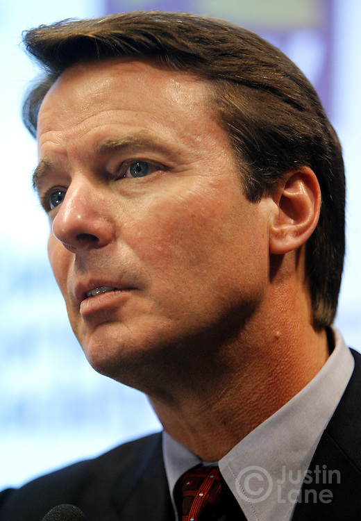 U.S. presidential candidate John Edwards talks to the press after delivering a speech at Baruch College to the Community Service Society of New York in New York, New York on Tuesday 27 Feburary 2007.