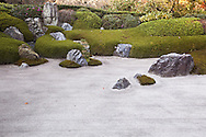 The karesansui zen garden of raked sand, rocks and plants  at Meigetsuin Temple Garden represents legendary Mount Shumi or Sumeru an imaginary mountain in the Buddhist universe. According to records Meigetsuin was originally merely the guest house of a much bigger temple called Zenko-ji which was closed by the government during the Meiji period and is all that remains of the formerly important temple.