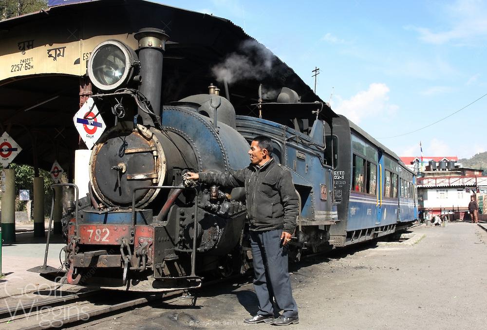 1889 vintage British-built B Class narrow gauge steam locomotive of the Darjeeling Himalayan Railway at Ghum station, India