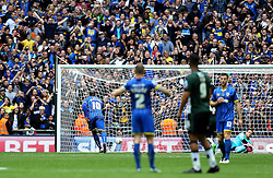 Adebayo Akinfenwa of AFC Wimbledon scores a goal from the penalty spot past Luke McCormick of Plymouth Argyle - Mandatory by-line: Robbie Stephenson/JMP - 30/05/2016 - FOOTBALL - Wembley Stadium - London, England - AFC Wimbledon v Plymouth Argyle - Sky Bet League Two Play-off Final