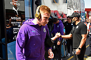Kevin De Bruyne (17) of Manchester City gets off the team bus on arrival to the Vitality Stadium ahead of the Premier League match between Bournemouth and Manchester City at the Vitality Stadium, Bournemouth, England on 25 August 2019.