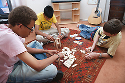 Group of youths playing a game.