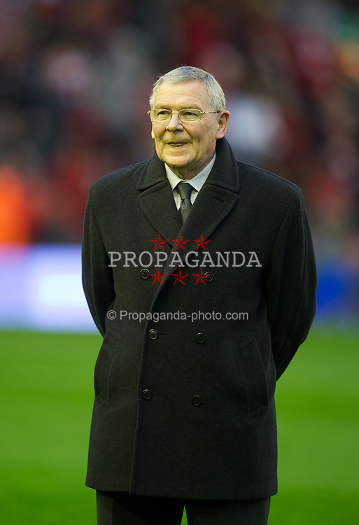 LIVERPOOL, ENGLAND - Tuesday, May 1, 2012: Former Liverpool player Brian Hall is presented with a momento on his retirement after working in the club's community department, before the Premiership match between Liverpool and Fulham at Anfield. (Pic by David Rawcliffe/Propaganda)
