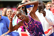 Mo Farah hearts for the cameras during the Muller Anniversary Games at the London Stadium, London, England on 9 July 2017. Photo by Jon Bromley.