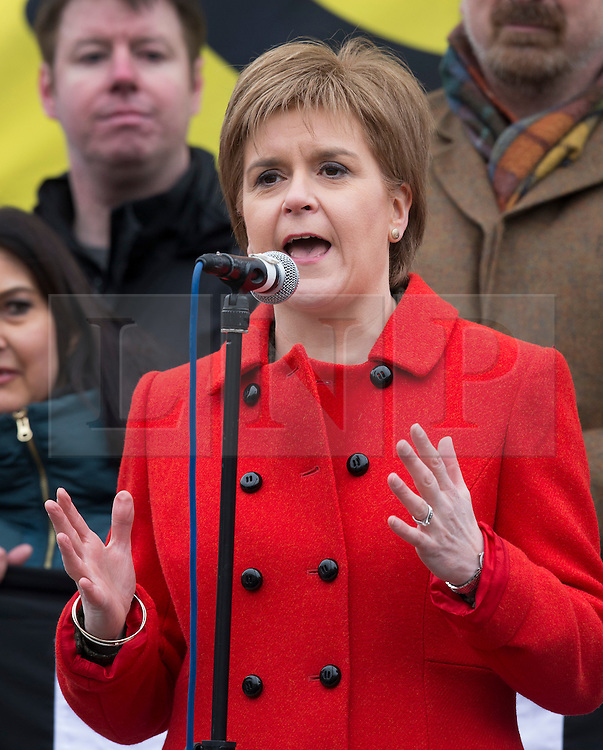 © Licensed to London News Pictures. 27/02/2016. London, UK.  SNP Leader Nicola Sturgeon speaks as a CND rally in Trafalgar Square. Thousands of protestors calling for the Trident nuclear deterrent to be scrapped have marched from Hyde Park to hear speeches from senior politicians and other campaigners. Photo credit: Peter Macdiarmid/LNP